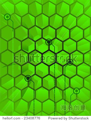 未来的矢量插图,抽象背景描绘科幻小说,3 d蜂巢电路接口