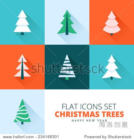 圣诞树的收藏.设置杉树,松树,云杉