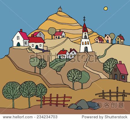农村景观手绘
