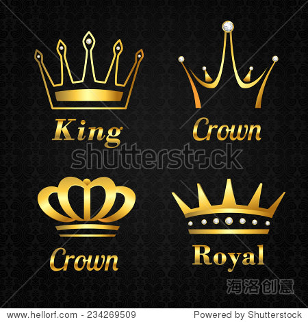 金色紋章國王和王后皇家皇冠黑色背景矢量圖