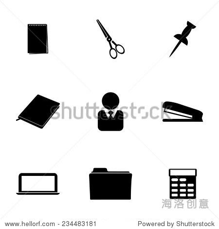 矢量图标设置在白色背景黑色办公室