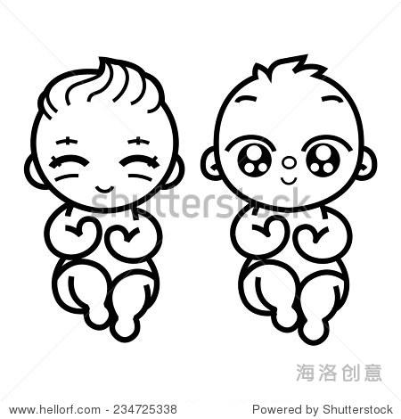 新生小双胞胎宝宝微笑的小胳膊和腿,程式化的艺术标志