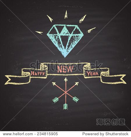 粉笔画彩色插图与明亮的钻石,越过箭头, 新年快乐 文本和丝带 新年
