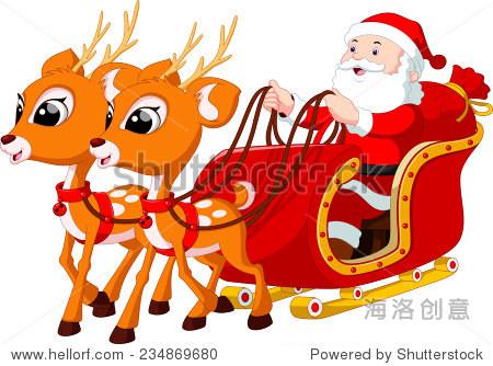 圣诞老人骑着驯鹿拉的雪橇