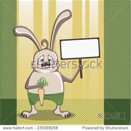 兔子的胡萝卜,手里拿着一个信号