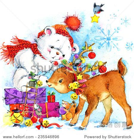 白色的泰迪熊.背景动物卡片,圣诞装饰和森林.水彩绘画
