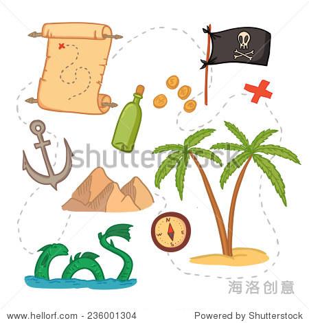 手绘矢量插图——藏宝图和设计元素(山,棕榈,指南针,锚等).