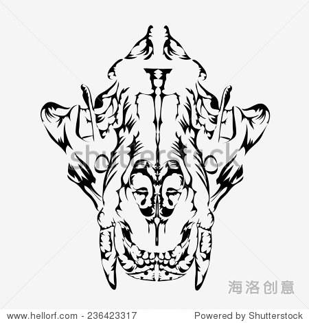 麋鹿头骨手绘黑白