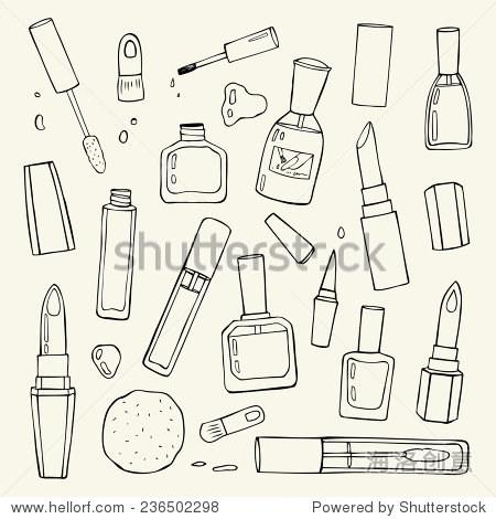 化妆品.手绘矢量插图.