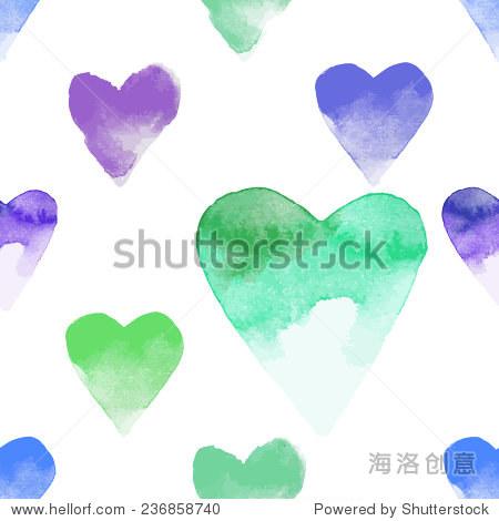 浪漫的水彩手绘心向量无缝模式圣情人节