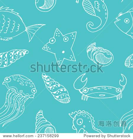 向量素描漫画海洋动物.手绘上色