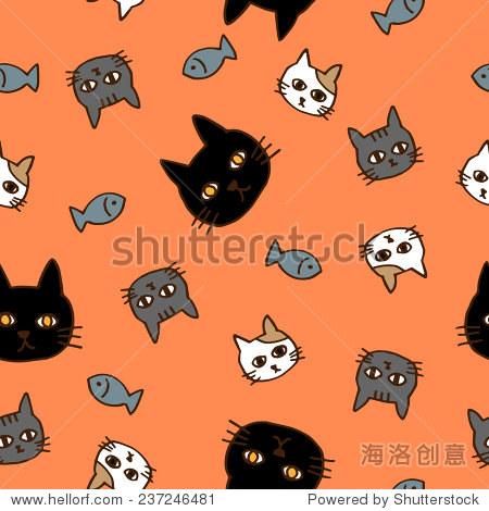 猫和鱼的手绘无缝模式橙色背景,矢量图像