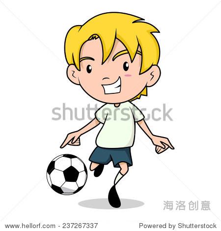 小孩踢足球足球,孤立的矢量图-人物