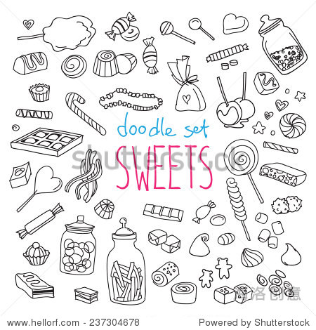 设置各种涂鸦,手绘粗糙简单的甜食和糖果草图.矢量插图孤立在白色背景
