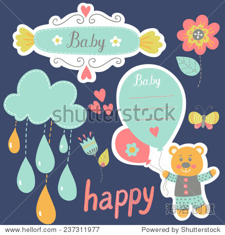 贴纸标签.可爱的帧和孩子图标.图形元素的