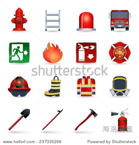 消防员现实图标集斧头盔象征面具孤立的矢量图