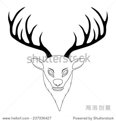 彩铅手绘鹿头卡通