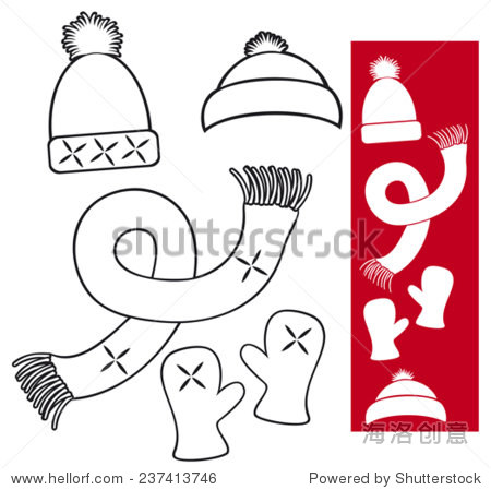 winter clothing knitted hat, scarf and gloves collection