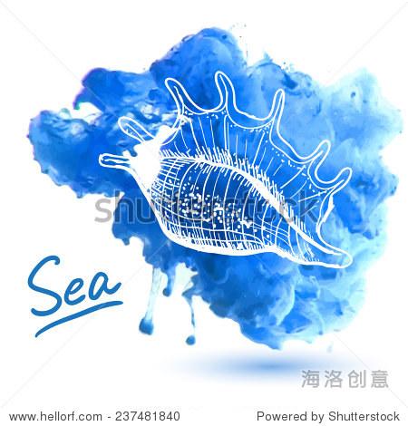 在水彩背景海贝壳.原始的手绘插图