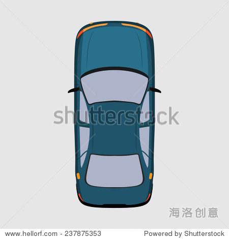 汽车顶视图.矢量插图.