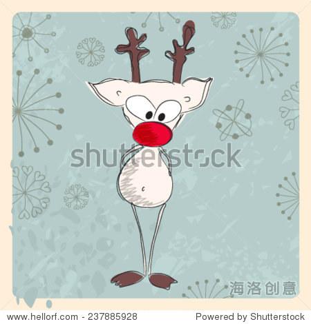 向量与驯鹿可爱的手绘风格的圣诞贺卡