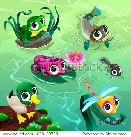 有趣的动物在池塘里.卡通矢量插图.