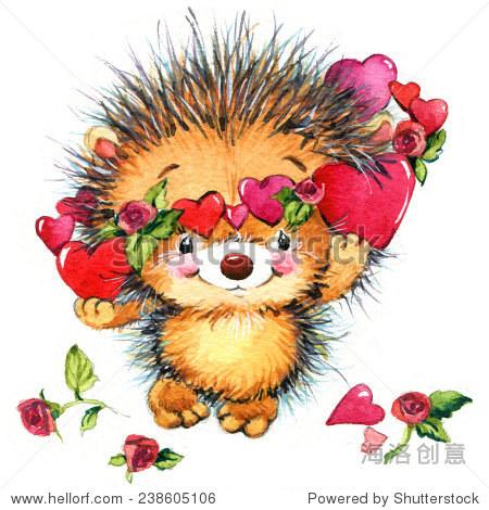 可爱的刺猬和红色的心.背景卡片祝贺.水彩绘画