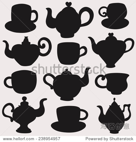 Set isolated icon silhouette cups, kettles, teapots, coffee pot. Abstract design logo. Logotype art. Vector illustration.