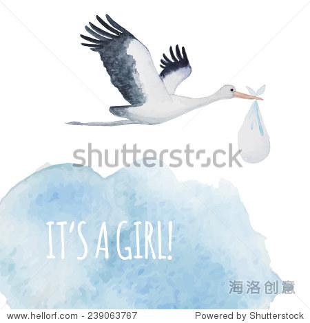 水彩手绘插图:鹳鸟在天空云与婴儿.