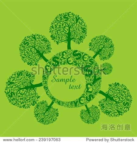 抽象背景,标志和钱树.矢量图-商业/金融,自然-海洛,,.