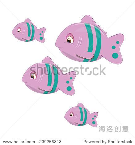 卡通热带鱼粉红色和绿色的颜色图片