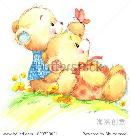 可爱的泰迪熊孩子的生日背景.水彩插图
