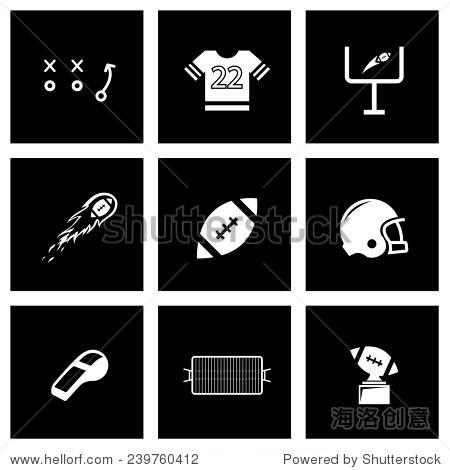 矢量图标设置在黑色背景黑色足球