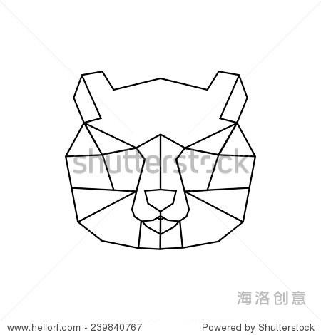 向量与三角形的几何熊猫彩色插图.折纸风格. - 动物