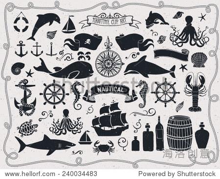 海上剪贴画,航海图标和设计元素,包括海盗旗,船轮,海马,帆船,