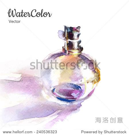 向量的手绘画水彩插图的香水瓶.eps10