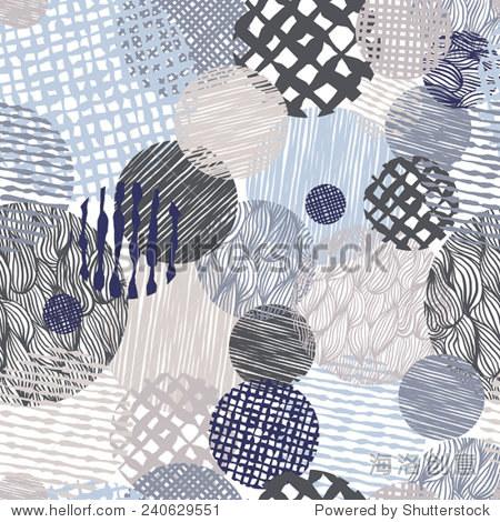 手绘线条纹理凌乱的无缝模式,矢量手绘背景.