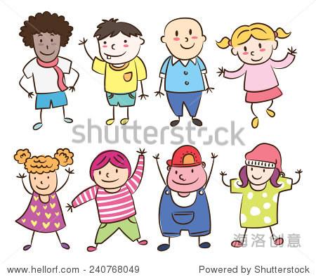 微笑的孩子排队
