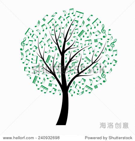 音符的树,绿色的树叶.一个矢量插图. - 符号/标志