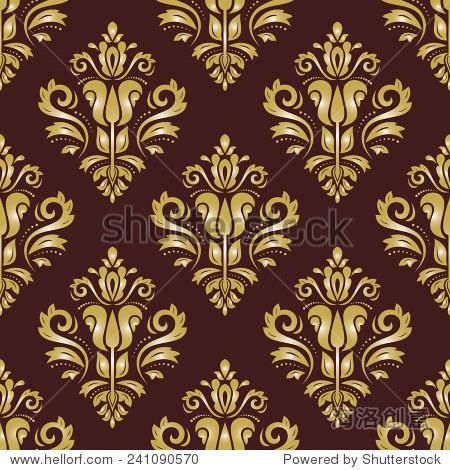 大马士革花卉图案与金色蔓藤花纹和东方元素.