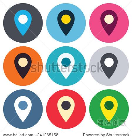地图指针图标.gps定位的象征.彩色的圆形按钮