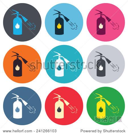 灭火器的信号图标 消防安全标志 彩色的圆形按钮 平面设计圆图标集 向量 符号 标志 站酷海洛创意正版图片,视频,音乐素材交易平台 shutterstock中国独家合作伙伴