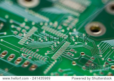 绿色印刷电路板(特写镜头)使用背景图像或纹理