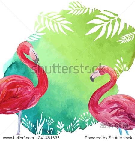 水彩热带插图火烈鸟和棕榈树叶背景.手绘的艺术向量