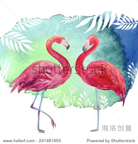水彩热带插图火烈鸟夫妇和棕榈树叶背景.手绘的艺术向量