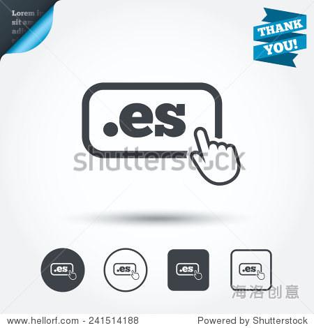 域名和手形指针符号 圆和正方形按钮 平面设计集 谢谢你带 向量 符号