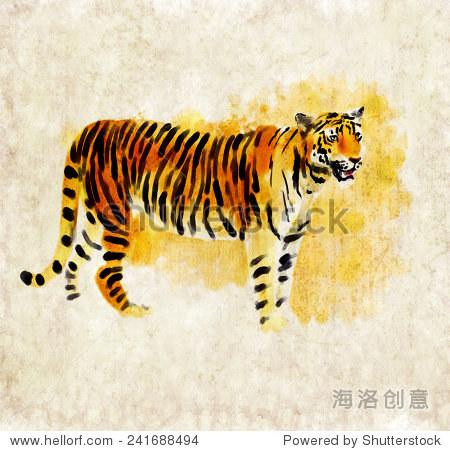 数字水彩插图的老虎 - 动物/野生生物 - 站酷海洛创意