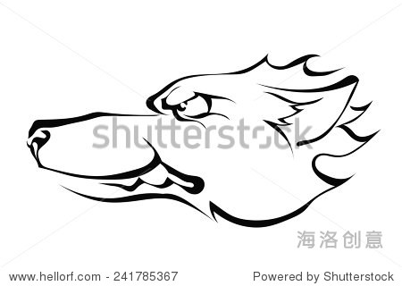 狼的头侧面孤立在白色背景.标志.矢量插图.