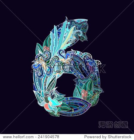 手绘花卉字体,数字6