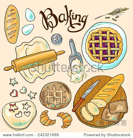 漂亮的手绘颜色的烘焙插图